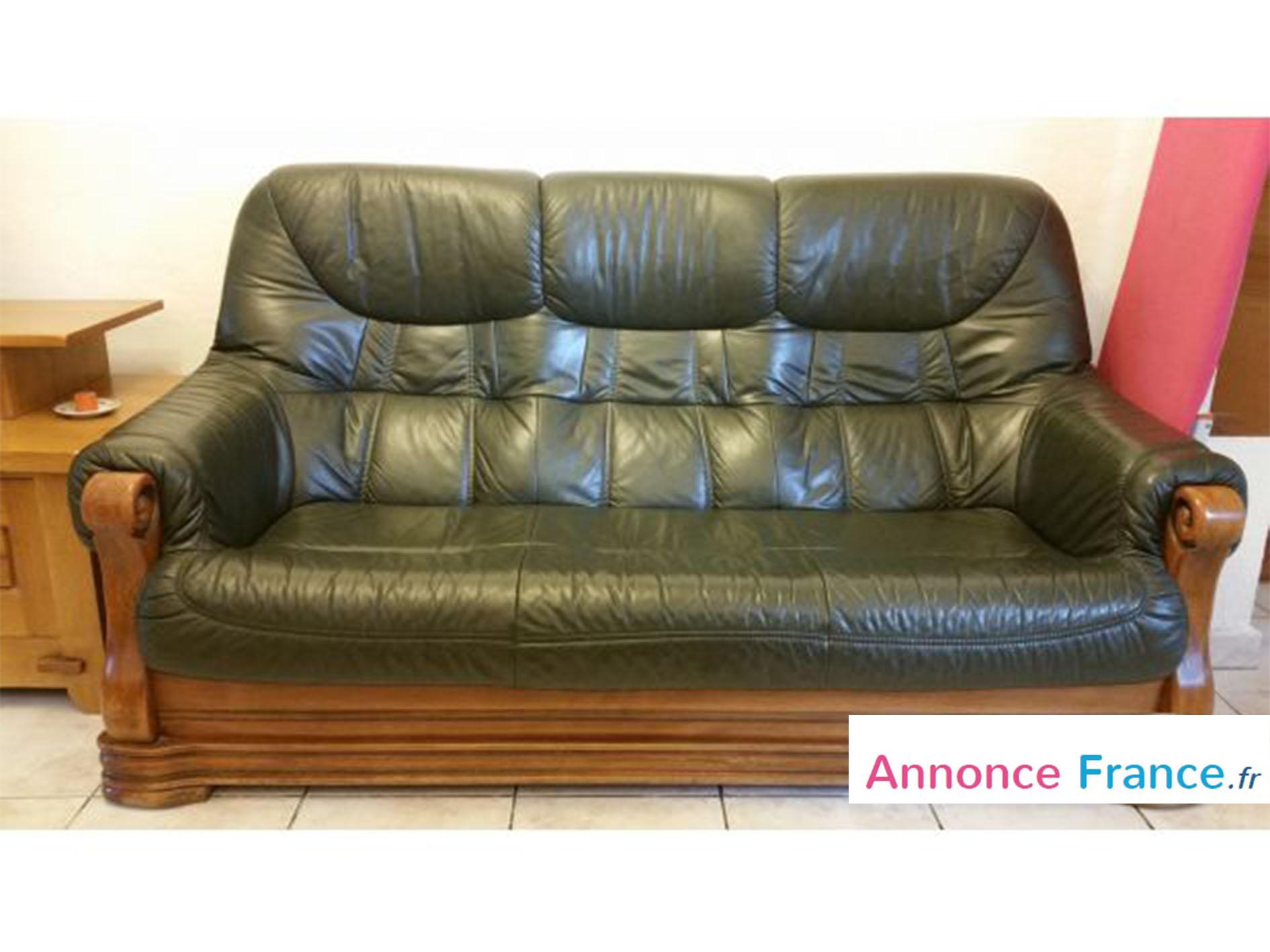 un salon en cuir vert sur ossature bois. Black Bedroom Furniture Sets. Home Design Ideas